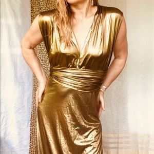 Vintage 80s gold disco party maxi gown. Size 6
